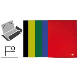Carpeta de gomas con 3 solapas en cartón plastificado de 600 grs. liderpapel en formato folio, colores surtidos.