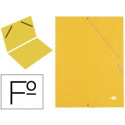 Carpeta de gomas sencilla en cartón símil prespán de 425 grs. liderpapel en formato folio, color amarillo.