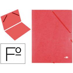 Carpeta de gomas sencilla en cartón símil prespán de 425 grs. liderpapel en formato folio, color rojo.