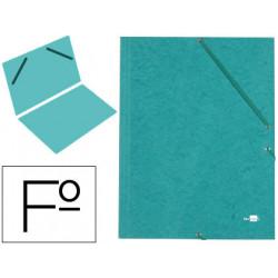 Carpeta de gomas sencilla en cartón símil prespán de 425 grs. liderpapel en formato folio, color verde.