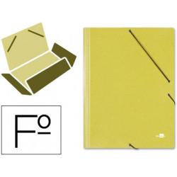 Carpeta de gomas con 3 solapas en cartón símil prespán de 425 grs. liderpapel en formato folio, color amarillo.