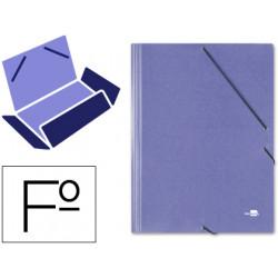 Carpeta de gomas con 3 solapas en cartón símil prespán de 425 grs. liderpapel en formato folio, color azul.