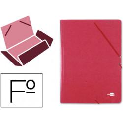 Carpeta de gomas con 3 solapas en cartón símil prespán de 425 grs. liderpapel en formato folio, color rojo.
