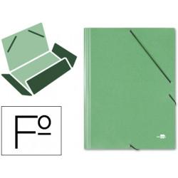 Carpeta de gomas con 3 solapas en cartón símil prespán de 425 grs. liderpapel en formato folio, color verde.