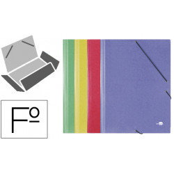 Carpeta de gomas con 3 solapas en cartón símil prespán de 425 grs. liderpapel en formato folio, pack de 4 colores surtidos.