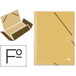 Carpeta de gomas con 3 solapas en cartón prespán de 880 grs. liderpapel en formato folio, color amarillo.