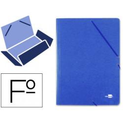 Carpeta de gomas con 3 solapas en cartón prespán de 880 grs. liderpapel en formato folio, color azul.