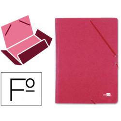 Carpeta de gomas con 3 solapas en cartón prespán de 880 grs. liderpapel en formato folio, color rojo.