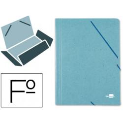 Carpeta de gomas con 3 solapas en cartón prespán de 880 grs. liderpapel en formato folio, color verde.
