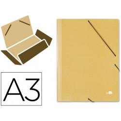 Carpeta de gomas con 3 solapas en cartón prespán de 880 grs. liderpapel en formato din a-3, color amarillo.
