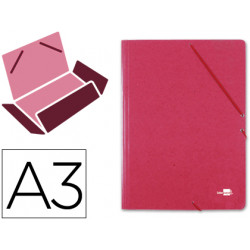 Carpeta de gomas con 3 solapas en cartón prespán de 880 grs. liderpapel en formato din a-3, color rojo.