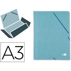 Carpeta de gomas con 3 solapas en cartón prespán de 880 grs. liderpapel en formato din a-3, color verde.
