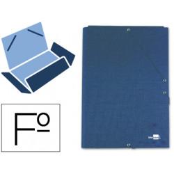Carpeta de gomas con 3 solapas en cartón entrecolado liderpapel en formato folio, color azul.