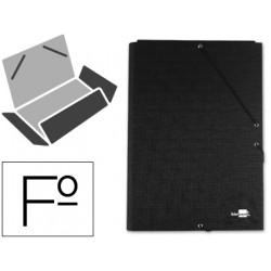 Carpeta de gomas con 3 solapas en cartón entrecolado liderpapel en formato folio, color negro.