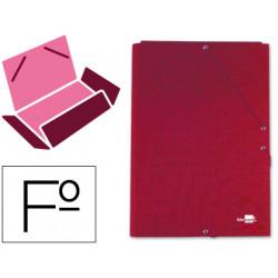 Carpeta de gomas con 3 solapas en cartón entrecolado liderpapel en formato folio, color rojo.