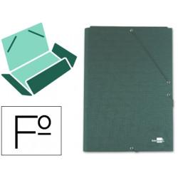 Carpeta de gomas con 3 solapas en cartón entrecolado liderpapel en formato folio, color verde.
