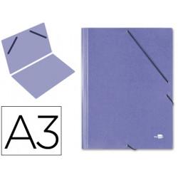 Carpeta de gomas gran formato sencilla en cartón compacto gofrado de 1.520 grs. liderpapel en formato din a-3, color azul.