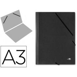 Carpeta de gomas gran formato sencilla en cartón compacto gofrado de 1.520 grs. liderpapel en formato din a-3, color negro.