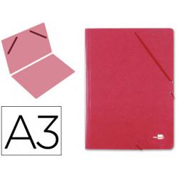 Carpeta de gomas gran formato sencilla en cartón compacto gofrado de 1.520 grs. liderpapel en formato din a-3, color rojo.