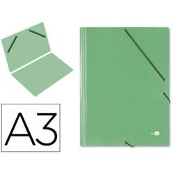 Carpeta de gomas gran formato sencilla en cartón compacto gofrado de 1.520 grs. liderpapel en formato din a-3, color verde.