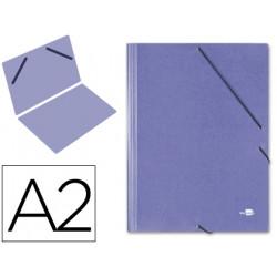 Carpeta de gomas gran formato sencilla en cartón compacto gofrado de 1.520 grs. liderpapel en formato din a-2, color azul.