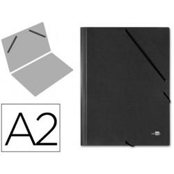 Carpeta de gomas gran formato sencilla en cartón compacto gofrado de 1.520 grs. liderpapel en formato din a-2, color negro.