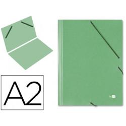 Carpeta de gomas gran formato sencilla en cartón compacto gofrado de 1.520 grs. liderpapel en formato din a-2, color verde.