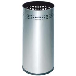 Paragüero metálico sie 314 de acero inoxidable perforado de 20 litros de capacidad en color plateado.