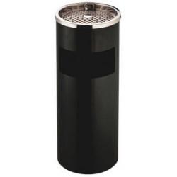 Cenicero - papelera metálico q-connect de Ø 25x61,5 cm. 12 litros. color negro.