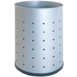 Papelera metálica perforada sin asas sie 101-r de Ø 21,5x31,5 cm. 12 litros. color plata.