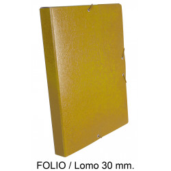 Carpeta de proyectos con gomas en cartón gofrado liderpapel en formato folio, lomo 30 mm. color amarillo.