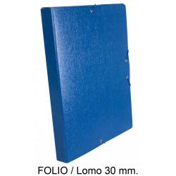 Carpeta de proyectos con gomas en cartón gofrado liderpapel en formato folio, lomo 30 mm. color azul.