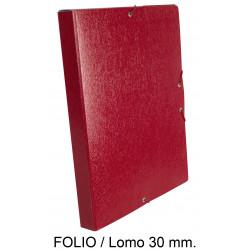 Carpeta de proyectos con gomas en cartón gofrado liderpapel en formato folio, lomo 30 mm. color rojo.