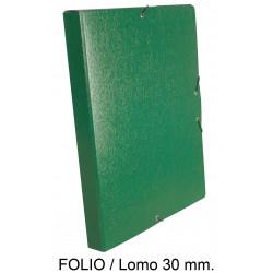 Carpeta de proyectos con gomas en cartón gofrado liderpapel en formato folio, lomo 30 mm. color verde.