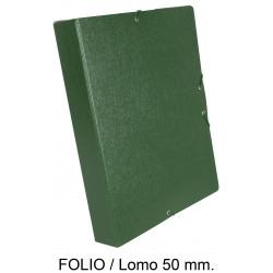 Carpeta de proyectos con gomas en cartón gofrado liderpapel en formato folio, lomo 50 mm. color verde.