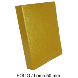 Carpeta de proyectos con gomas en cartón gofrado liderpapel en formato folio, lomo 50 mm. color amarillo.