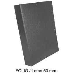 Carpeta de proyectos con gomas en cartón gofrado liderpapel en formato folio, lomo 50 mm. color gris.
