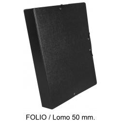 Carpeta de proyectos con gomas en cartón gofrado liderpapel en formato folio, lomo 50 mm. color negro.