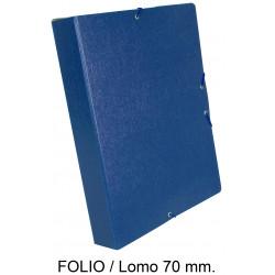 Carpeta de proyectos con gomas en cartón gofrado liderpapel en formato folio, lomo 70 mm. color azul.