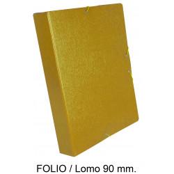 Carpeta de proyectos con gomas en cartón gofrado liderpapel en formato folio, lomo 90 mm. color amarillo.