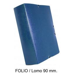 Carpeta de proyectos con gomas en cartón gofrado liderpapel en formato folio, lomo 90 mm. color azul.
