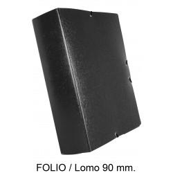 Carpeta de proyectos con gomas en cartón gofrado liderpapel en formato folio, lomo 90 mm. color negro.