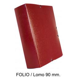 Carpeta de proyectos con gomas en cartón gofrado liderpapel en formato folio, lomo 90 mm. color rojo.