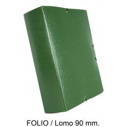 Carpeta de proyectos con gomas en cartón gofrado liderpapel en formato folio, lomo 90 mm. color verde.