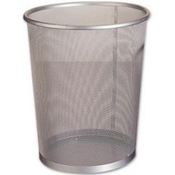 Papelera metálica de rejilla q-connect de Ø 19x26 cm. 8,3 litros. color plata.
