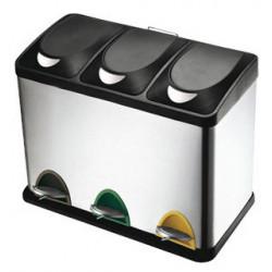Contenedor metálico con tapa y pedal de 3 compartimentos q-connect de 60,5x34x48,5 cm. 45 litros. color cromado.