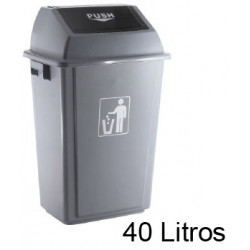 Contenedor de plástico con tapa de balancín q-connect de 41x28x61 cm. 40 litros. color gris.