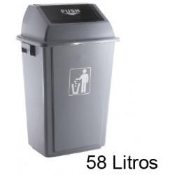 Contenedor de plástico con tapa de balancín q-connect de 47x33x76 cm. 58 litros. color gris.