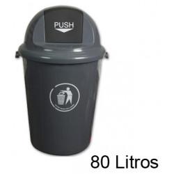 Contenedor de plástico con tapa de balancín q-connect de Ø 45x76 cm. 80 litros. color gris.