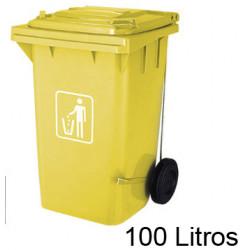 Contenedor de plástico con tapa y ruedas q-connect para plástico y envases de 37x47x75 cm. 100 litros. color amarillo.